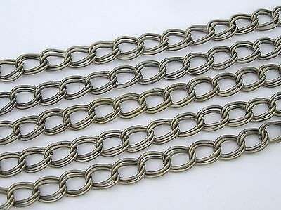 6 feet of Steel  Double Twisted Vintage Brass Ox Plated Chain, Garlan USA zz 125