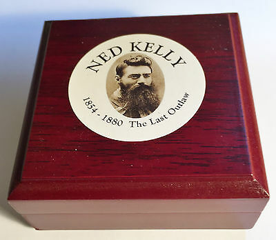 "New ""Ned Kelly #4"" 1/10th oz HGE 999 Gold Australiana Coin In Wood Display Box"