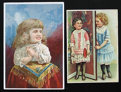 Victorian Trade Card lot ~ 2 Soap Trade Cards ~ SOAPINE ~ Girls ~ Free Shipping