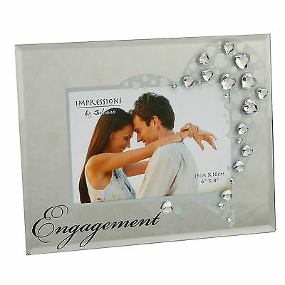 Stunning Engagement photo frame - Mirror glass and clear heart crystals