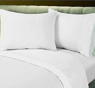 6 New White Full Flat Hotel Linens Sheet Offer T-180 Percale Free T-200 Upgrade