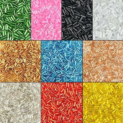bugle beads small glass loose beads 2mm 10 colors 25g jewelry making wholesale