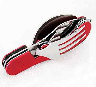 3-in-1 Camping Hiking Outdoor Pocket Folding Spoon Fork Knife Set Multi Tool Mo