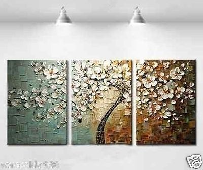 New 3pc Handmade Large Modern hand-painted Art Oil Painting Wall Decor canvas