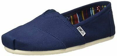 Toms Classic Navy White Womens Canvas Espadrille Shoes Slipons