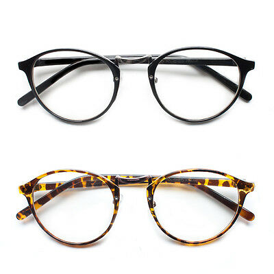 Retro Vintage Style Clear Lens Eye Glasses Hipster Cool Nerd Smart Oval Round f