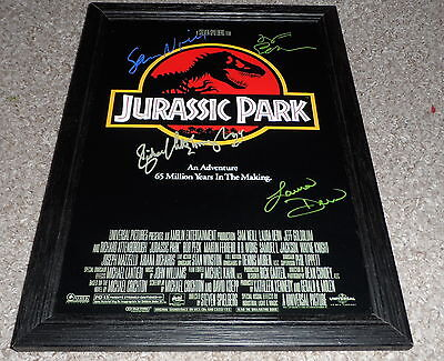 "Jurassic Park Pp Signed & Framed 12""x8"" A4 Photo Poster Sam Neill Jeff Goldblum"