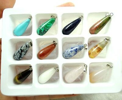 Beautiful Long water droplets Mixed agate Gemstone Pendant Reiki Healing