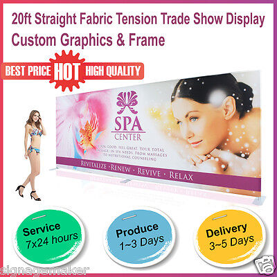 20ft Straight Fabric Tension Backwall Pop Up Trade Show Display Booth + Graphic