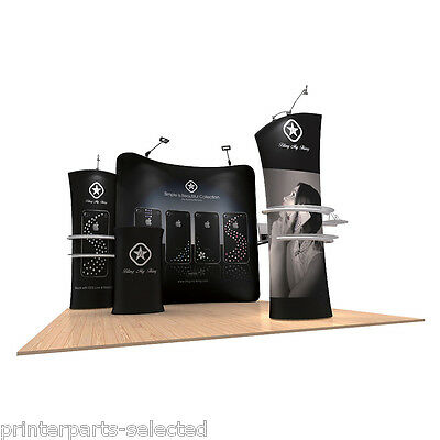 10ft Pop Up Booth Fabric Tension Display Wall System Trade Show + Graphic Print