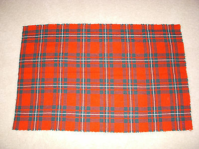 "Wool Fabric~Red Plaid~ 20"" x 30""~Sewing, Rug Hooking, Crafts, Doll Clothes"