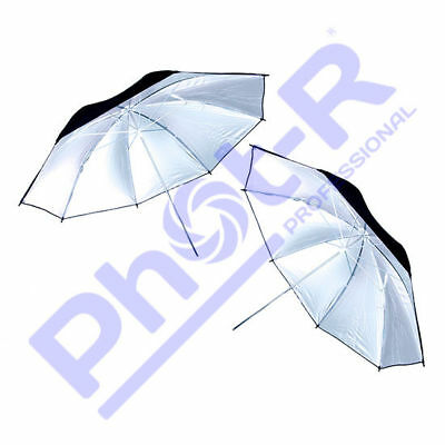 "Phot-R 2x 43""/109cm Black/Silver Light Studio Flash Diffuser Reflector Umbrella"