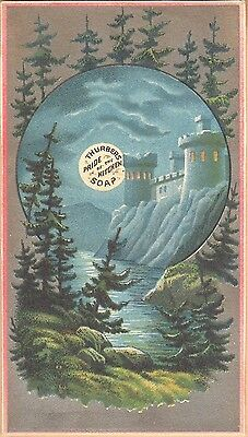 "Victorian Trade Card-Thurber's ""Pride of the Kitchen"" Soap-Castle in Moonlight"