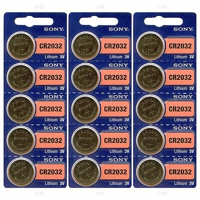 15 NEW SONY CR2032 3V Lithium Coin Battery Expire 2027 FRESHLY NEW - USA Seller