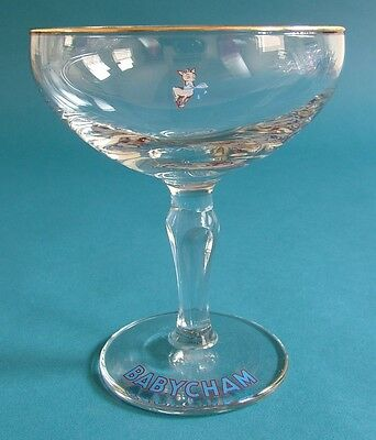 Pair of 1960s Babycham Glasses with Faceted Stems