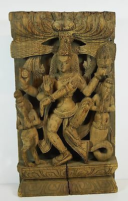 Antique Asian India Carved Wood Panel Buddhism Dancing Shiva Ganesh Bhairava