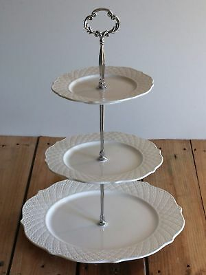 French Provincial White 3Tier Porcelain Cake Stand Serving Ceramic Plate PSL2201
