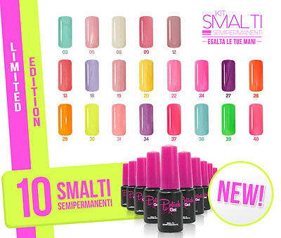 kit 10 Polish smalti colorati  semipermanentI ricostruzione unghie soak off