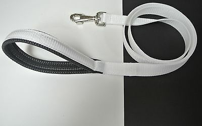 """45""""Dog Lead With Padded Handle For Comfort 25mm Strong Durable White Webbing"""
