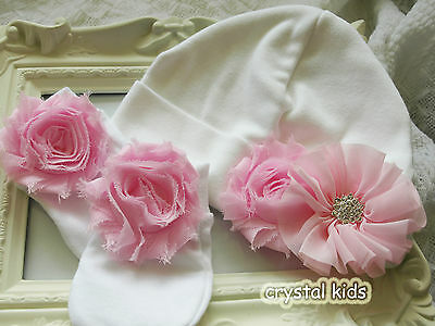 Gorgeous Baby Girl Reborn White & Pink Cotton Hat With Scratch Mitts 0-3 mths