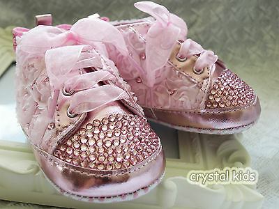 Baby Girls Reborn Pink Flower Bling Crystal Crib Shoes Boots 0 - 12 months