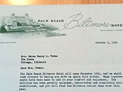 Letterhead is from the Palm Beach Biltmore Hotel, dated 1955