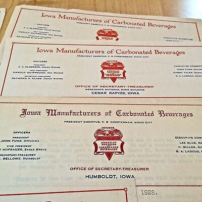 7-Vintage Letterhead    for Iowa Manufacturers of Carbonated Beverages 1928-30