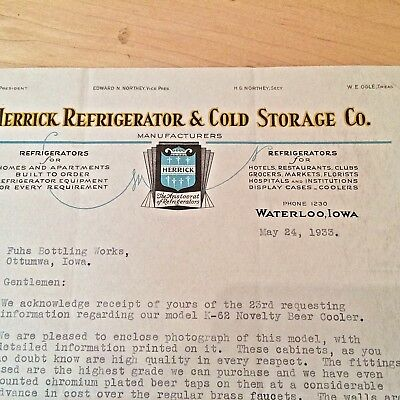 Vintage Letterhead from Herrick Refrigerator & Cold Storage Co., 1933