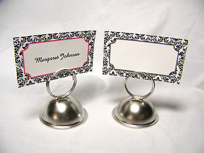 50 Blank Wedding Rectangle Floral Damask Place Cards