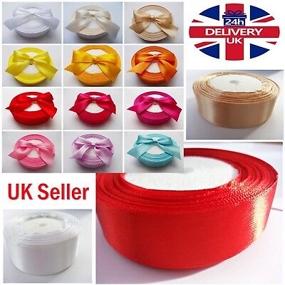 """Satin Ribbon-25mm 1"""" All Colours & high quality 2m to 100m For Decorations,Craft"""