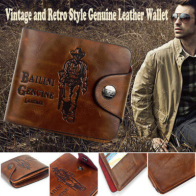 Mens Stylish Genuine Leather Cowhide Wallet Brown Business Credit Card Holder OZ