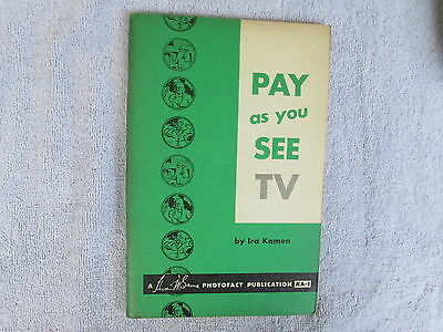 Pay As You See TV-A 1955 Photofact Publication- First Addition ***** Box - E