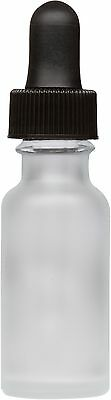 100 Pack Frosted Glass Boston Round Bottle w/ Black Glass Dropper 0.5 oz