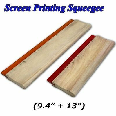 "2 pcs Screen Printing Wood Squeegee 13"" &  9.4""  Ink Scraper"
