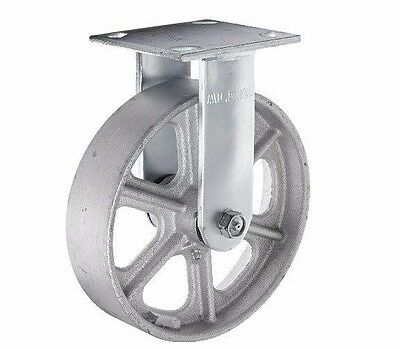 """Fixed Plate Caster with 8"""" x 2"""" Cast Iron Heavy Duty Spoked Wheel 9-1/2"""" OAH"""