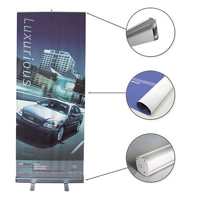 """Retractable 33"""" Roll Up Banner Stand Trade Show Pop Up Banner Stand + FREE Print"""