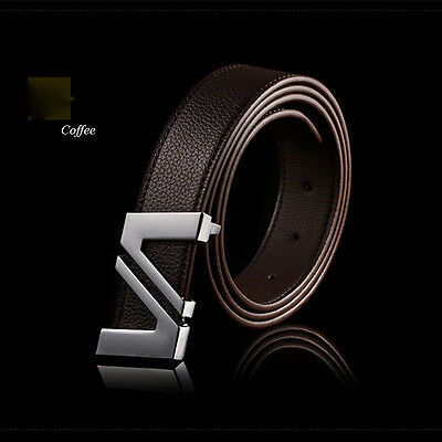 Men's Casual Waistband Business Leather Automatic Buckle Belt Waist Strap BLS