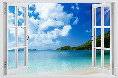 Sunshine Beach wall decals 3D Window white Frame Removable Art stickers huge W67