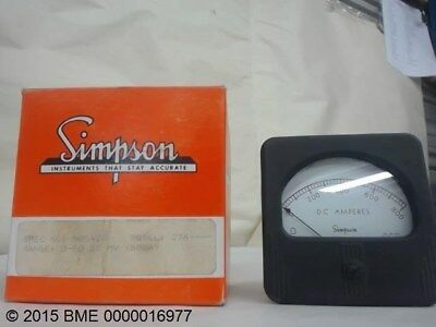 Simpson 27A Dc Panel Am Meter 0-50 Amps