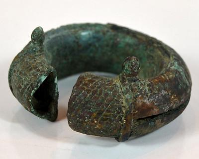 "Antiquity 4"" Ancient Thai Bang Cheng  Old Bronze Women Ornate Bracelet"