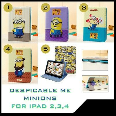 Despicable me minions leather iPad 2, 3, 4 book case cover NEW