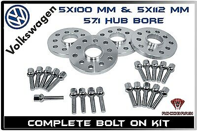 4 x 20mm Hub Centric Wheel Spacers | Extended Lug Bolts | Fits VW Jetta Golf GTI