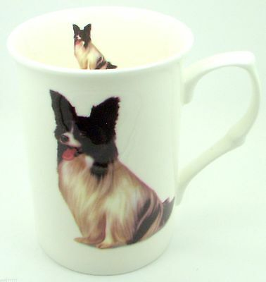 ~ Papillon Black & White ~ Bone China Dog Mug