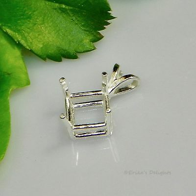 (6mm - 10mm) SQUARE Pre-Notched Sterling Silver Pendant Setting