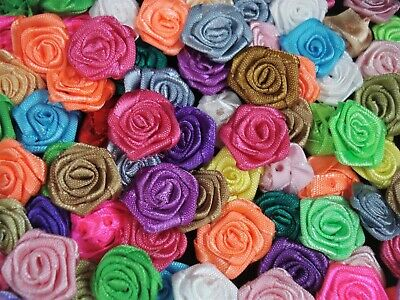 Ribbon Roses Satin Mixed Bright Colours 100pc Flower Sewing Craft FREE POSTAGE