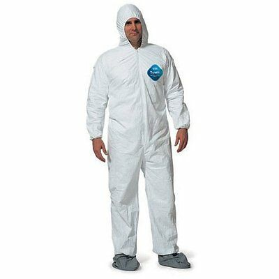 DuPont Tyvek TY127S Disposable Coverall Bunny Suit W//Hood Elastic Wrists /&Ankles