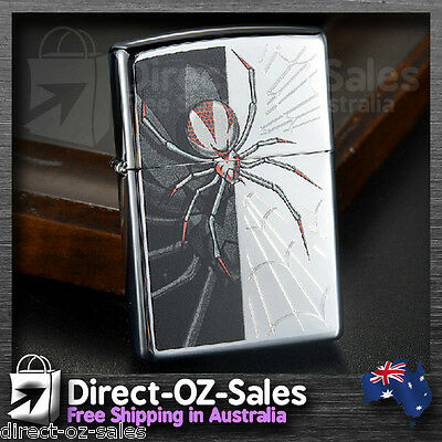 "Zippo Lighter ""Spider and Web "" High Polished Chrome 28795- Oz Seller- Free Post"