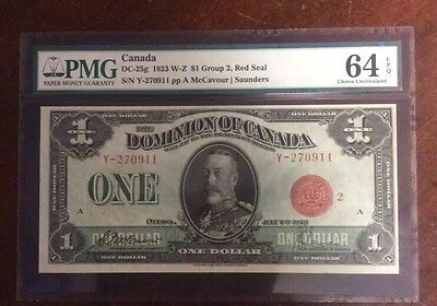 1923 W-Z $1 Group 2 Red Seal Dominion of Canada PMG64 EPQ & Embossing High Grade