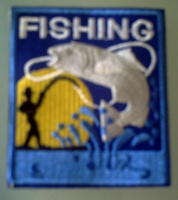 Fishing embroidered patch iron on or sew on 6.8cm x7.8cm blue/yellow/white/grey