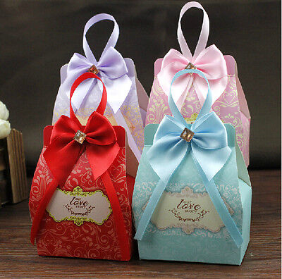 100pcs Love Wedding Birthday Favor Party Ribbon Boxes Gift Candy Baby shower Box